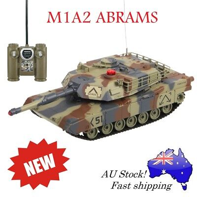 HuanQi 549 IR M1A2 Abrams Battle RC Tank Sound Lights Rotation Turret Grey Camo