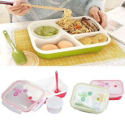 Lunch Box Food Container Picnic Storage Plastic Bento Microwave Soup Bowl Spoon