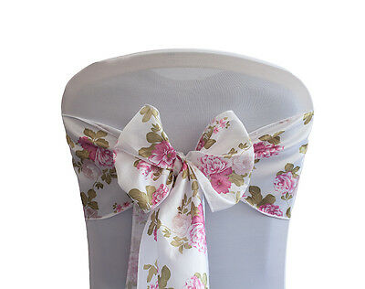 Cabbage Floral Print Taffeta Sashes / Table Runners Events Weddings Vintage