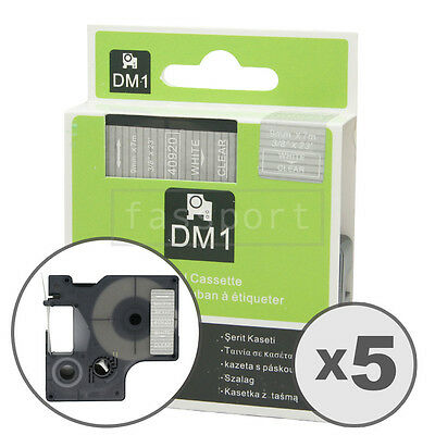 5pk White on Clear Tape Label Compatible for DYMO 40920 D1 9mm 3/8""