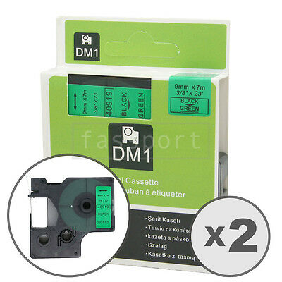 2pk Black on Green Tape Label Compatible for DYMO 40919 D1 9mm 3/8""