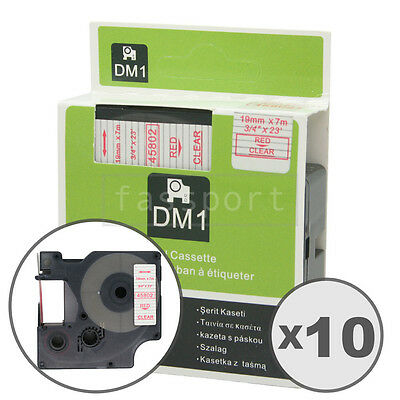 """10pk Red on Clear Tape Label Compatible for DYMO 45802 D1 19mm 3/4"""""""