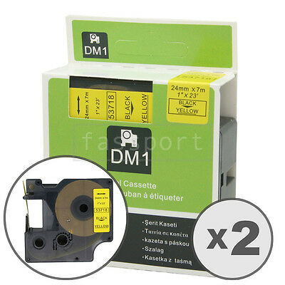 """2pk Black on Yellow Tape Label Compatible for DYMO 53718 D1 24mm 1"""""""