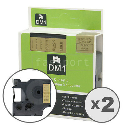 2pk Black on Gold Tape Label Compatible for DYMO 45813 D1 19mm 3/4""