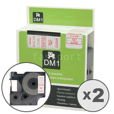 """2pk Red on Clear Tape Label Compatible for DYMO 53712 D1 24mm 1"""""""