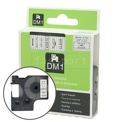 1pk Black on Clear Tape Label Compatible for DYMO 40910 D1 9mm 3/8""