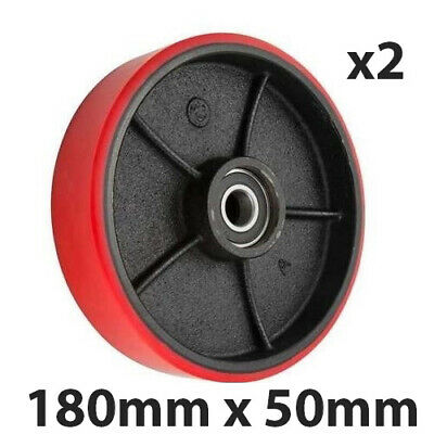 X2 PALLET TRUCK STEERING WHEEL / RED POLYURETHANE/ OD 180X50mm WITH BEARINGS