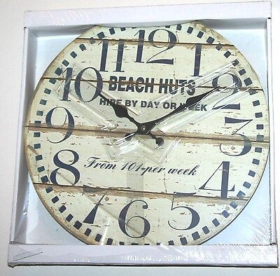 Wall Clock - ' Beach Huts ' Rustic Plank Effect Design (34cm)