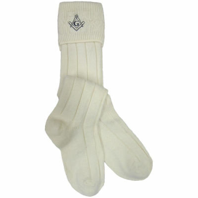 Men's Ecru Kilt Hose/Socks With Masonic Symbol Sizes UK 6.5 - 9 & UK 9.5 - 13