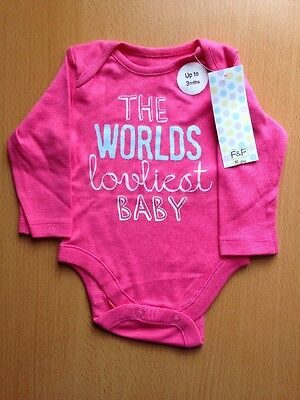 New, Baby Girls Bodysuit,up to 3 Months Old with THE WORLDS Lovliest Baby Title.