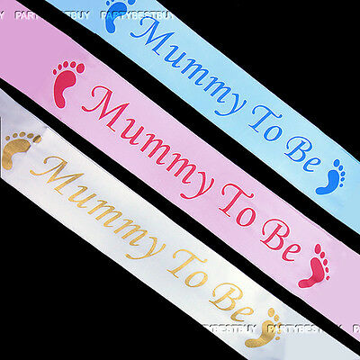 Baby Shower Party Sashes, Mummy To Be Satin Sash Ribbon FOOTPRINT 3 Colours