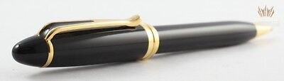 Aurora Ipsilon Black Deluxe Resin With Gold Trim Ball Point Pen Italian Styling!