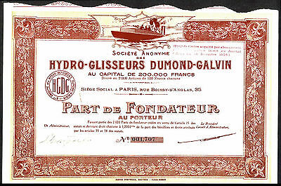 FRANCE: Hydro-Glisseurs Dumond-Galvin, founders share, 1925,