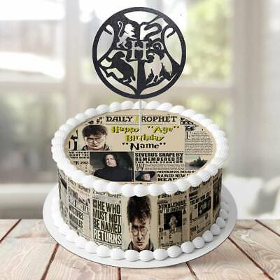 Harry Potter Daily Prophet PERSONALISED EDIBLE KIDS Icing Cake Wrapper Toppers