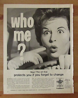 Vintage 1962 Magazine Print Advertisement PENNZOIL Motor Oil Sexist Ad