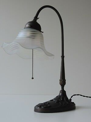 Tischlampe Lampe Messing Glas Irisiert Jugendstil Stil Zugschalter Table Lamp
