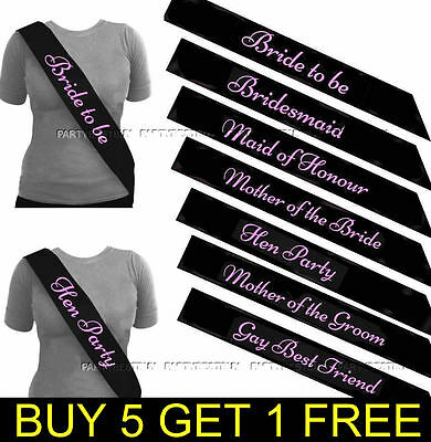 Black Bride To Be Sash Girls Night Hen Night Party Do Accessories Sashes