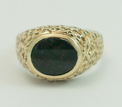 Vintage Bloodstone Men's Ring #9 14K Gold Plated with Oval Stone