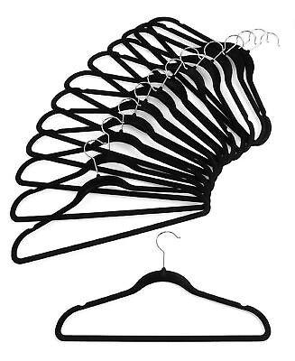 Black High Quality Velvet Non Slip Flocked Hangers Clothes Coat Hanging New
