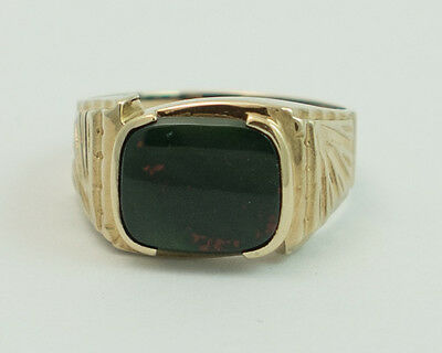 Vintage Bloodstone Men's Ring #7 14K Gold Plated With Rectangle Cushion Cut