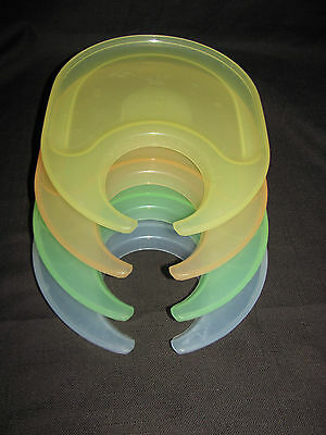 Tupperware Impressions Set of 4 Snackatizer Snack Plates with Cup Holders