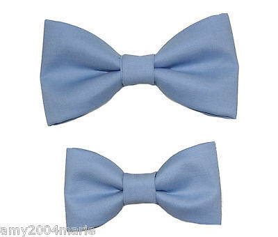 Father / Toddler Son 2T - 4T Matching Periwinkle Cotton Clip On Bow Ties