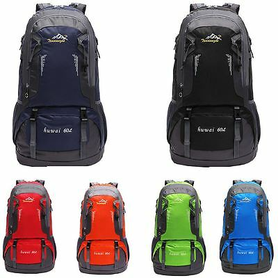Large 60L Travel Rucksack Outdoor Waterproof Hiking Backpack Camping Bag Luggage