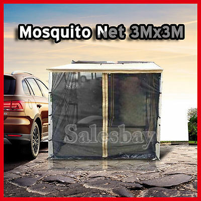 3mx3m Mosquito Net Mesh Car Awning Roof Top Tent Camper Trailer 4WD 4x4 RACK