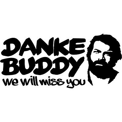 DANKE BUDDY Aufkleber Bud Spencer Tattoo Mücke Sticker