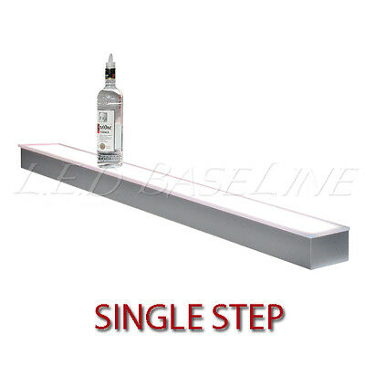 "80"" 1 Tier LED Lighted  Liquor Display Shelf - Stainless Steel Finish"
