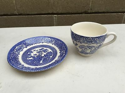 Staffordshire English Scene Ironstone blue & white tea cup & saucer hand engrave
