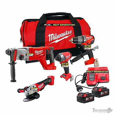 Milwaukee 18V M18 4 Pc Next Gen Fuel Brushless 5.0Ah Kit Li-Ion Sds Rotary Drill