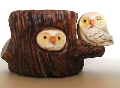 VINTAGE Enesco Owls on Tree Stump Ceramic Planter COLLECTIBLE ITEM