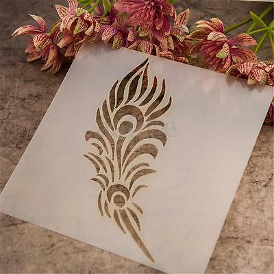 Feather Airbrush Template Painting Stencils Scrapbooking Decor Art Wall Craft