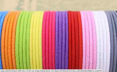 100 x Asst Coloured Thick Snagless Rubber Hair Ties Elastics Bands -Girls Ladies
