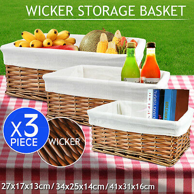 3pcs Rectangle Picnic Storage Basket Box Set Organiser