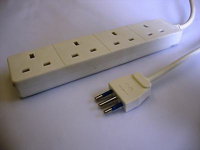 Italian plug to 4 way UK adaptor extension lead / cord (Italy)