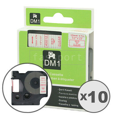 """10pk Red on Clear Tape Label Compatible for DYMO 45012 D1 12mm 1/2"""""""