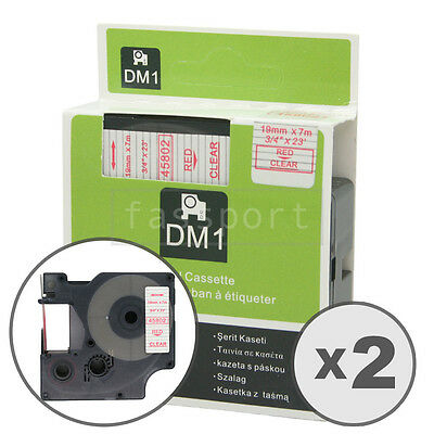 """2pk Red on Clear Tape Label Compatible for DYMO 45802 D1 19mm 3/4"""""""