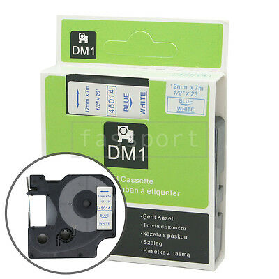 """1pk Blue on White Tape Label Compatible for DYMO 45014 D1 12mm 1/2"""""""