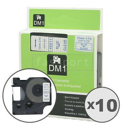 10pk Blue on Clear Tape Label Compatible for DYMO 45011 D1 12mm 1/2""