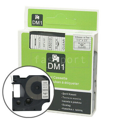 """1pk Black on Clear Tape Label Compatible for DYMO 45010 D1 12mm 1/2"""""""