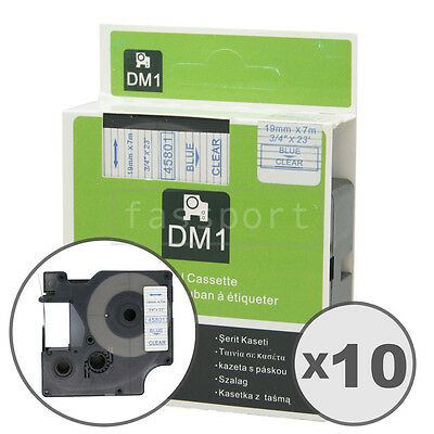 """10pk Blue on Clear Tape Label Compatible for DYMO 45801 D1 19mm 3/4"""""""