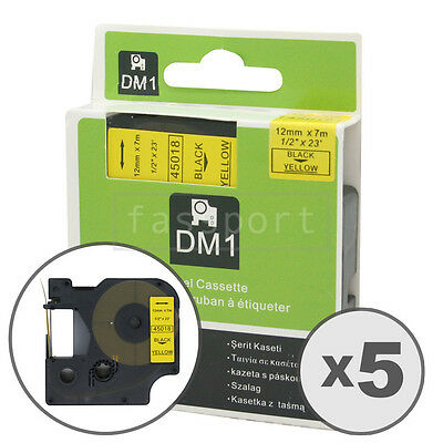 """5pk Black on Yellow Tape Label Compatible for DYMO 45018 D1 12mm 1/2"""""""