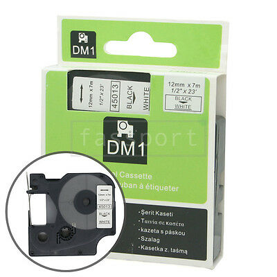 """1pk Black on White Tape Label Compatible for DYMO 45013 D1 12mm 1/2"""""""