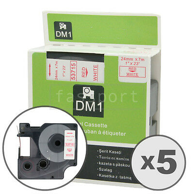 """5pk Red on White Tape Label Compatible for DYMO 53715 D1 24mm 1"""""""