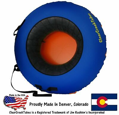 "Huge 44"" Inflated HEAVY DUTY Inner Tube Snow Tube Combo Blue/Orange"