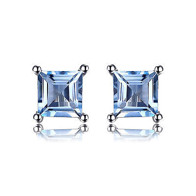 JewelryPalace0.7ct Natural Sky Blue Topaz Earrings Solid 925 Sterling Silver HOT