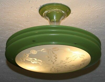 Antique custom green frosted glass art deco saucer light fixture chandelier 40s