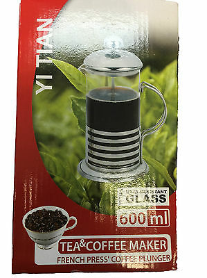 600ml Heat Resistant Glass Coffee Plunger Tea Coffee Maker Press Plunger